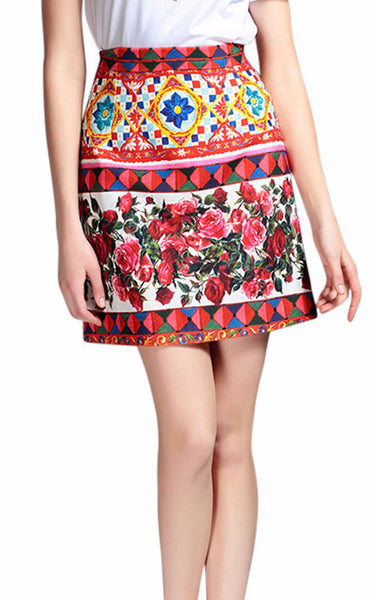 Delilah | Luxury High Embellished Geometric Floral Mini Skirt