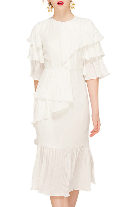 Evianna | Angelic White Ruffle Dress