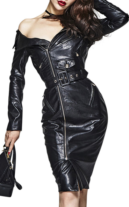 Gran Prix | Vegan Leather Strapless Zipper Motorcycle Dress