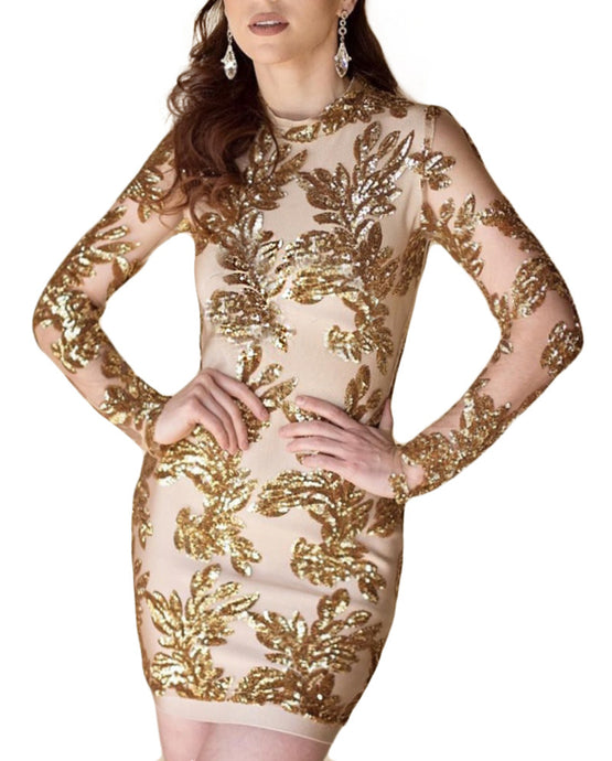 Julianna l  Gold Floral Beading Embellished Party Dress