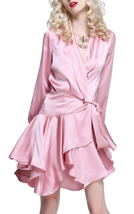 Isadora Blush | Vintage Glamour Satin Ruffle Mini Dress