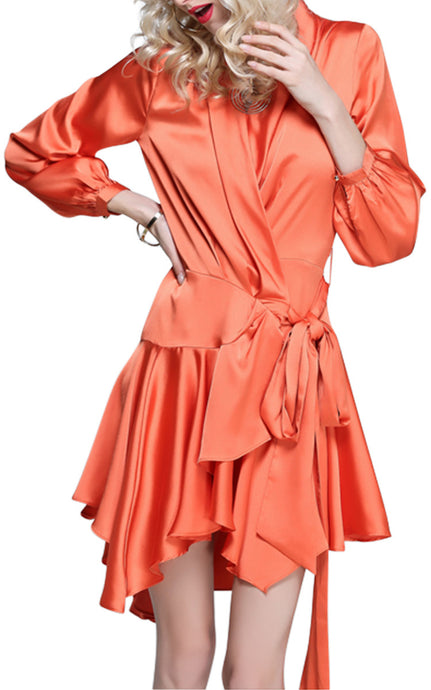 Isadora Spice | Vintage Glamour Satin Ruffle Mini Dress
