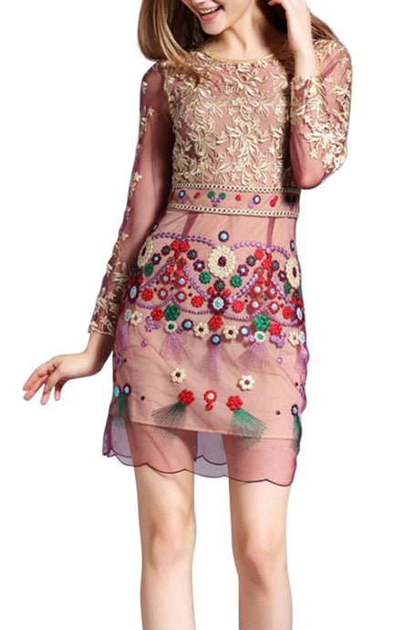 Jasmines Bazaar Long Sleeve l High Luxury Hand Embroidered Gold Flower Dress