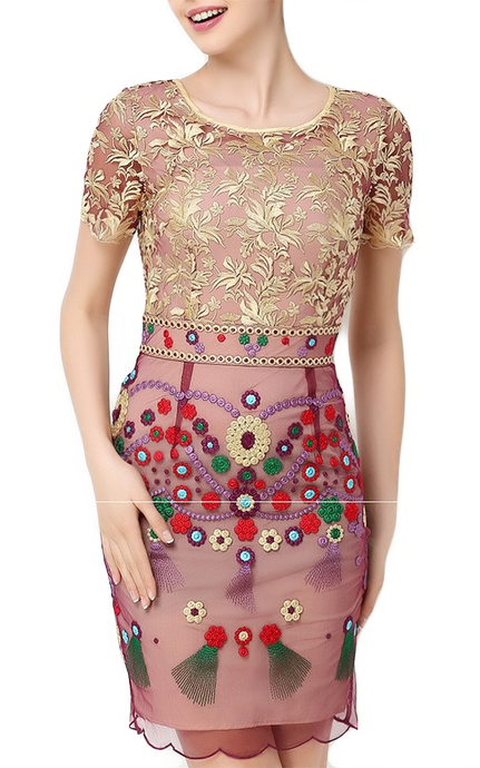 Jasmines Bazaar l High Luxury Hand Embroidered Gold Flower Dress
