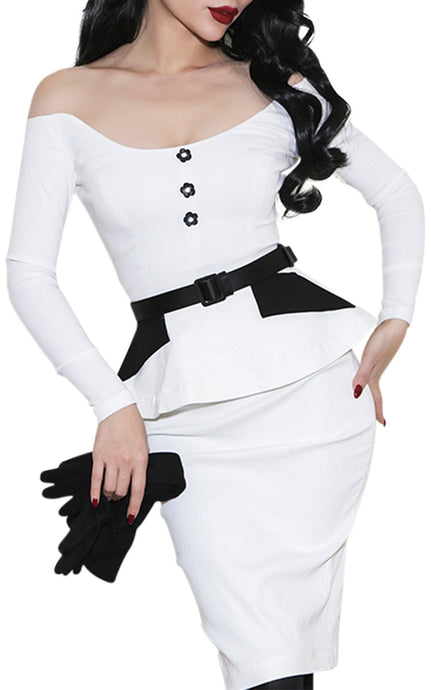 Mae West| Ivory Off the Shoulder Pinup Pencil Suit