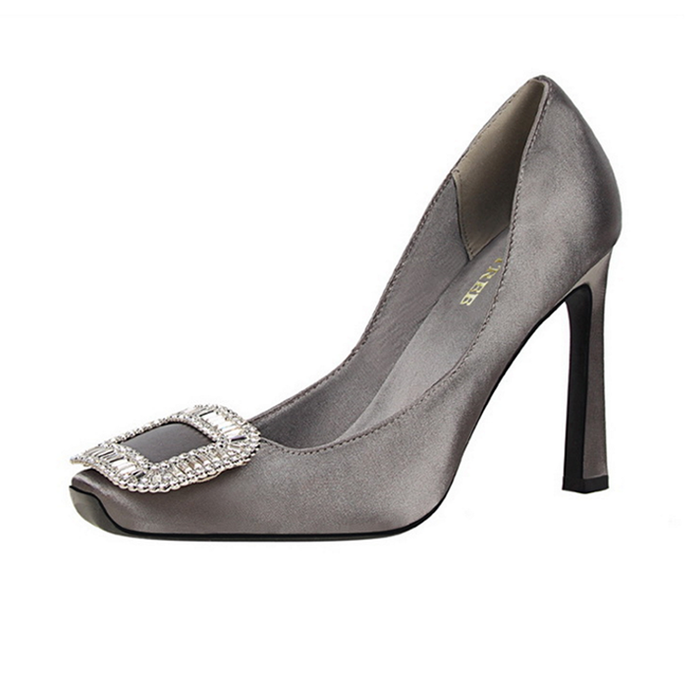 Ms. Monroe Ash | Luxury Satin Embellished Pumps
