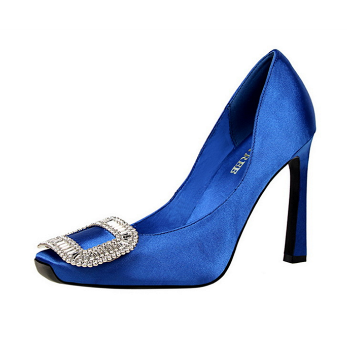 Ms. Monroe Blue Blood | Luxury Satin Embellished Pumps