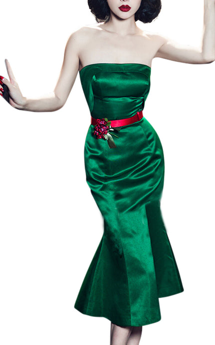 Nicole | Luxe Emerald Fishtail Bodycon Dress