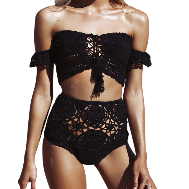 Phoebe Coal l Sexy Handmade Crochet Off Shoulder Bikini Set