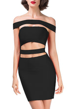 Revenge | Sultry Cutout Slash Neck Mini Dress