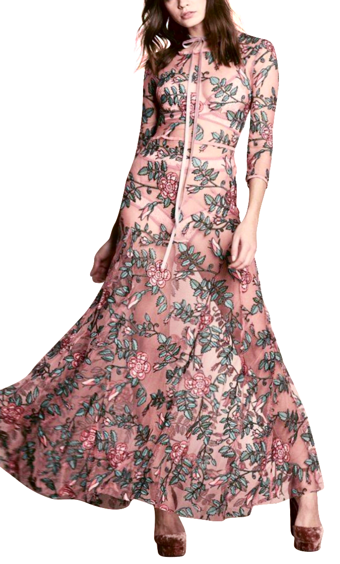 Sophia l High Luxury Hand Embroidered Floral Bohemian Maxi Dress