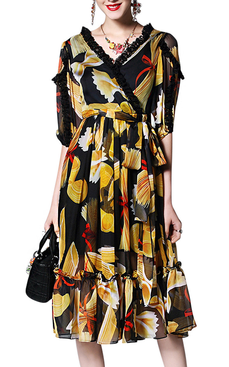 Trattoria | Vintage Printed Chiffon Pleated Dress