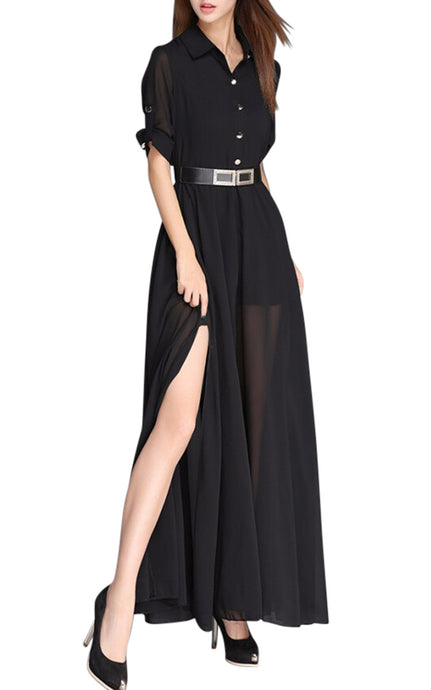 Tyra Noir | Flowing Belted Polo Dress
