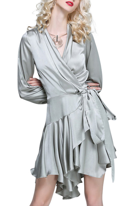 Isadora Chrome | Vintage Glamour Satin Ruffle Mini Dress