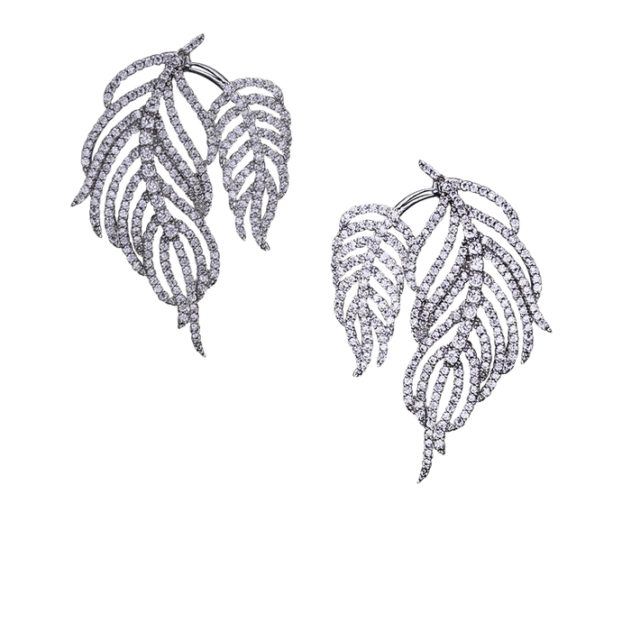 Le Palm | Elegant Micro Pave Dripping Feather Earrings