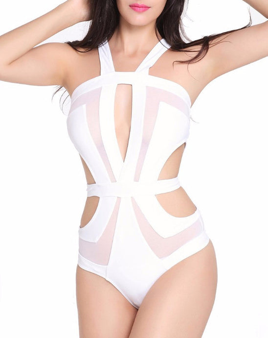 Charlieze Ivory | Sexy One Piece Mesh Cut Out Swimsuit