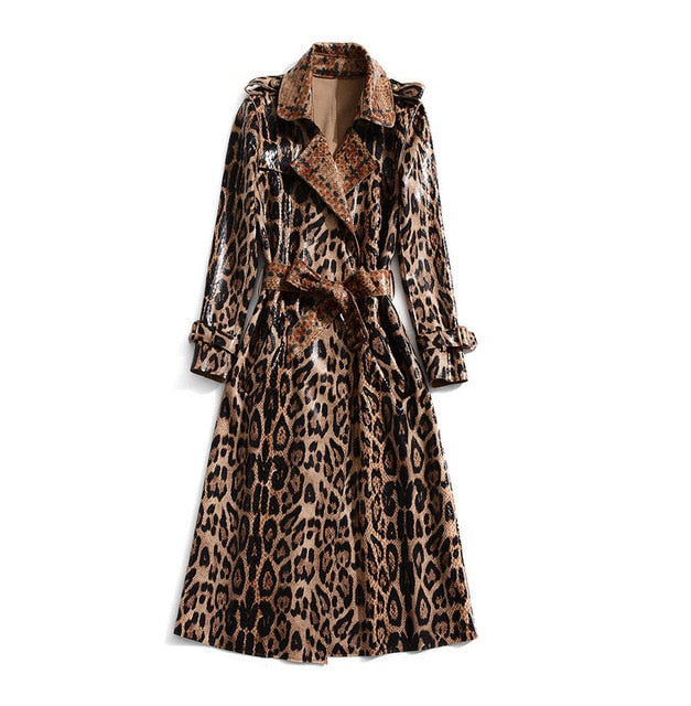 Camilla | Leopard Print Patent Leather Trench