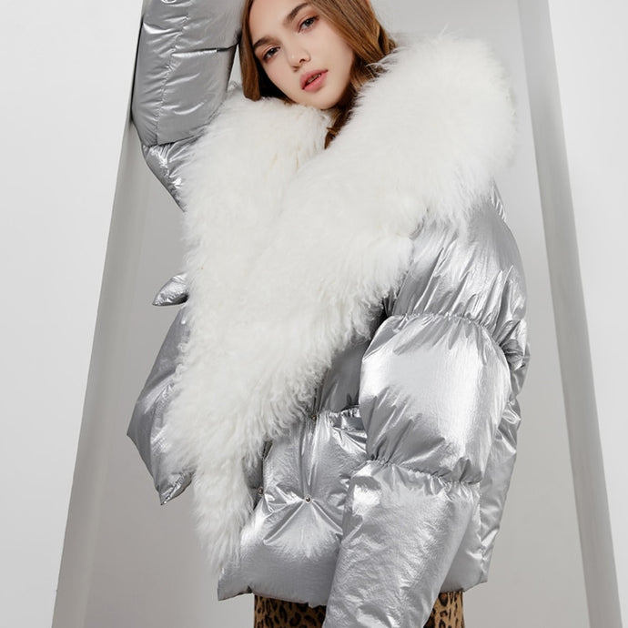 Sheepish | Metallic Down Feather Coat
