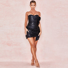 Brielle | Black Sequin Tube Mini Dress