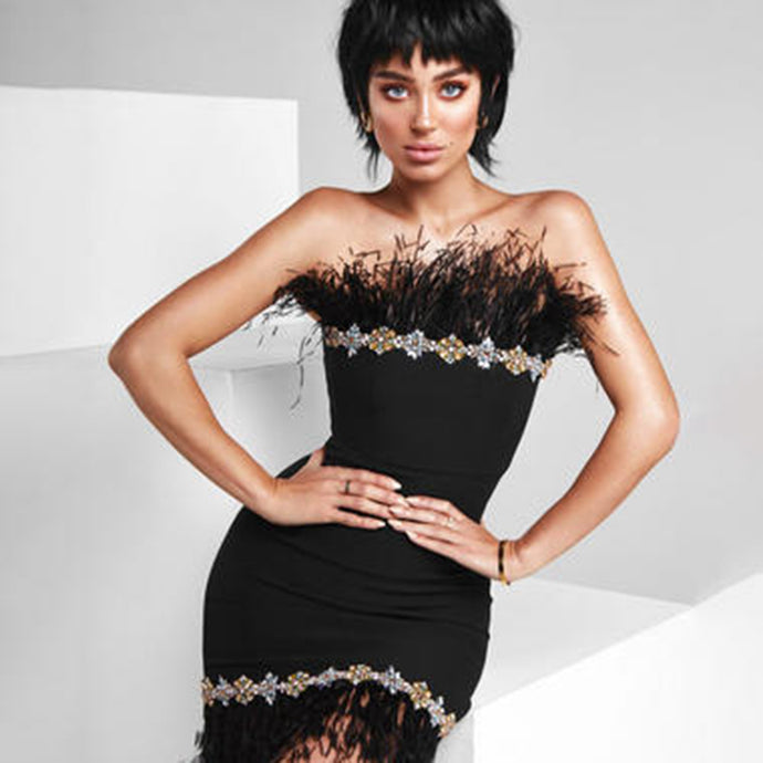 Zoie | Black Bandage Tube Dress with Ostrich Feather Detail