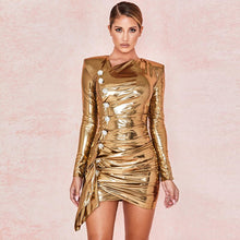 Carrie | Gold Long Sleeve Metallic Dress