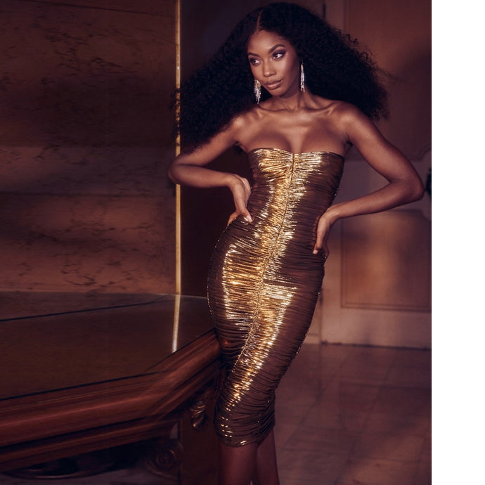 NAIOMI Gold Bandage Dress