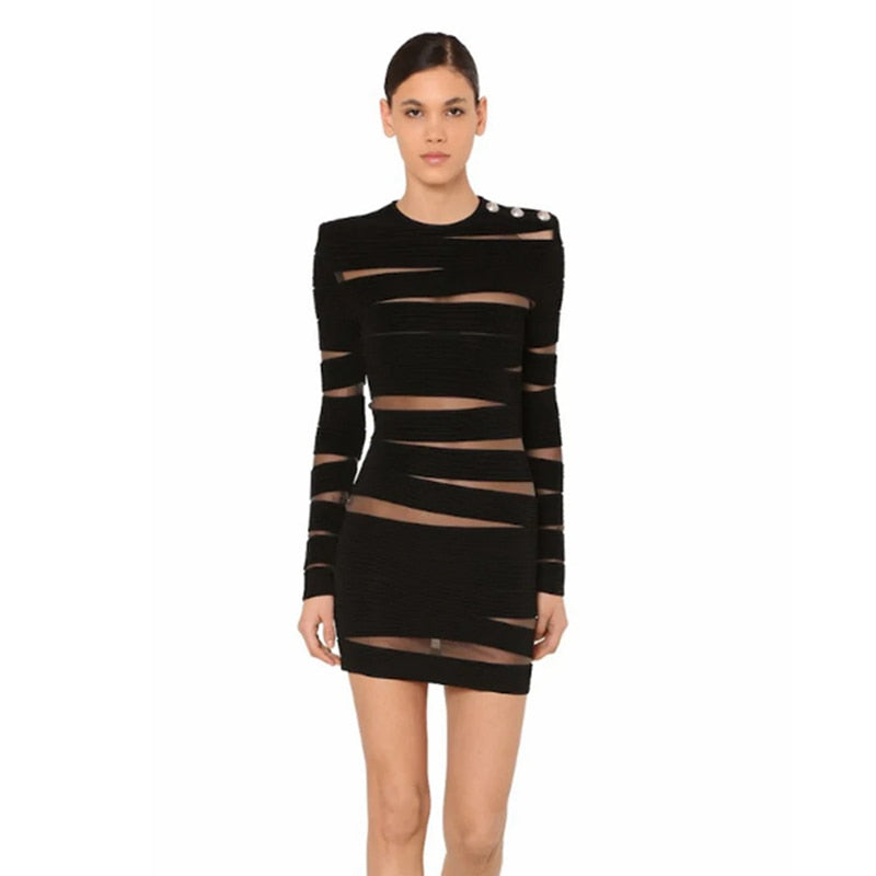 ARTISTE | Mesh Long Sleeve Mini Dress