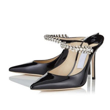 Monaco | Patent Leather Crystal Stiletto Mules
