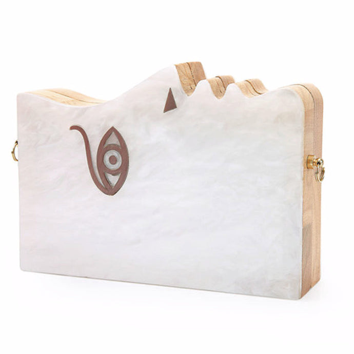 Picasso Marbleized Lucite & Wood Handmade Clutch