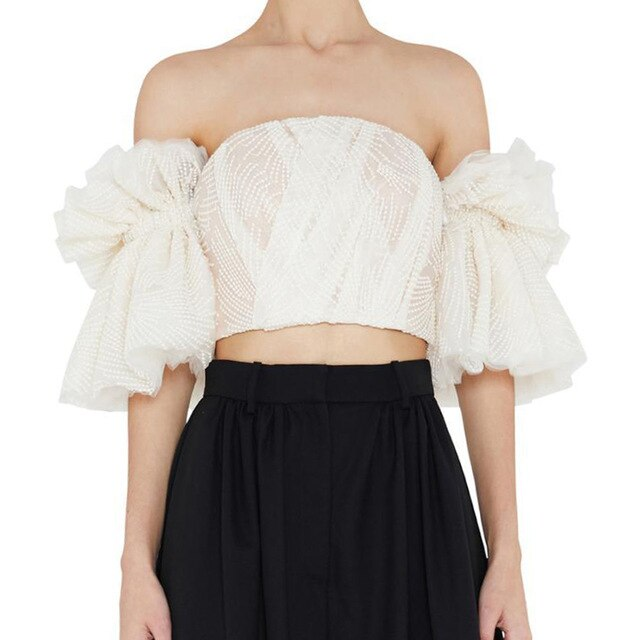 Anya | Romantic Embroidered Crop Tube Top with Ruffled Sleeves
