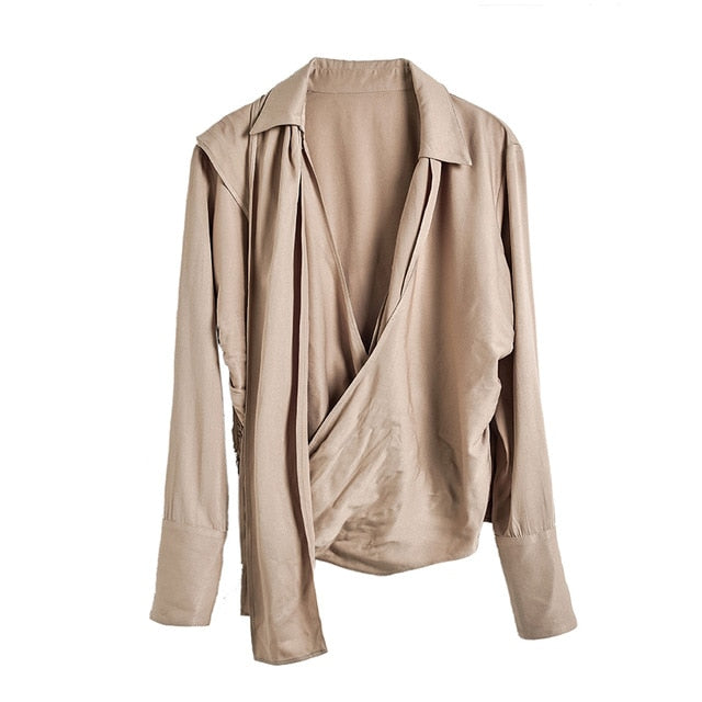 Anna | Chic Rouched Wrap Front Blouse