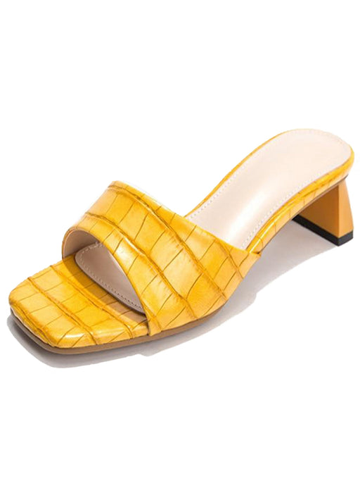Lagos | Exotic Yellow Crocodile Printed Mules