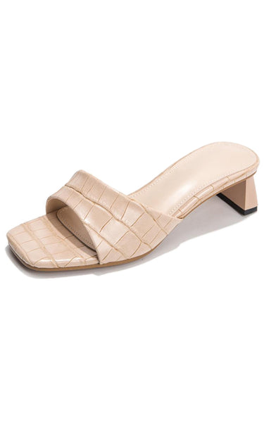Cassale | Exotic Cream Crocodile Printed Mules