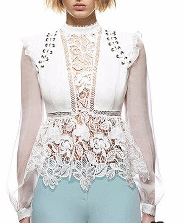 Stephanie Embellished Lace Peasant Top