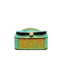 Stella l Gradient Green Snake Printed Leather Handbag