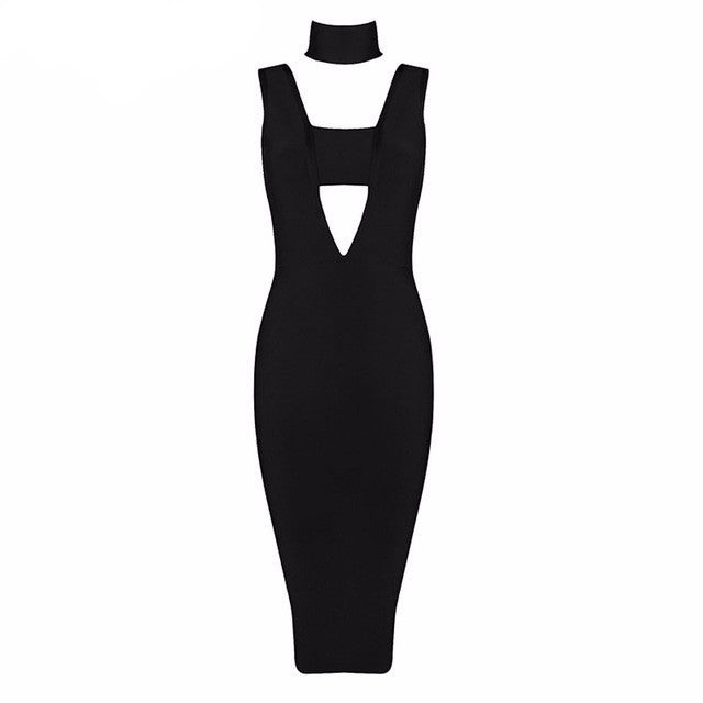Posh | Modern Deep V Midi Dress