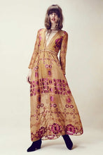 Desert Mystic Chiffon Metallic Maxi Dress