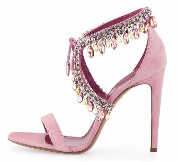 Versailles Petal | High Luxury Crystal Micro Suede Stiletto