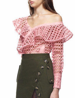 Oh Holy | Pink Fishnet Asymmetric Ruffle Top