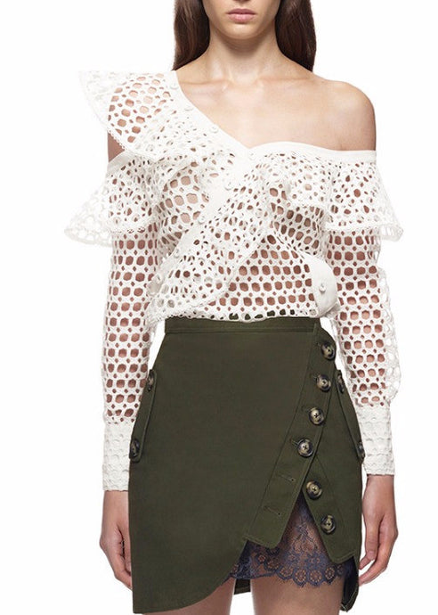 Oh Holy Light  | Fishnet Asymmetric Ruffle Top