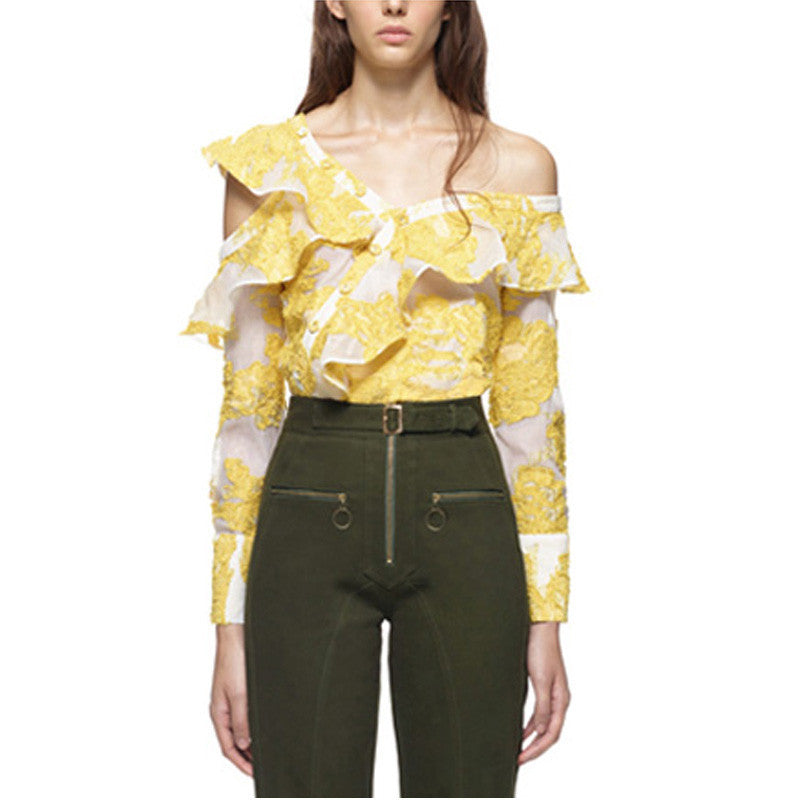 Milano l Off The Shoulder Sheer Embroidered Blouse