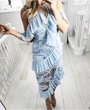 Chelsea | Ruffled Kitsch Baby Blue Lace Tassel Dress