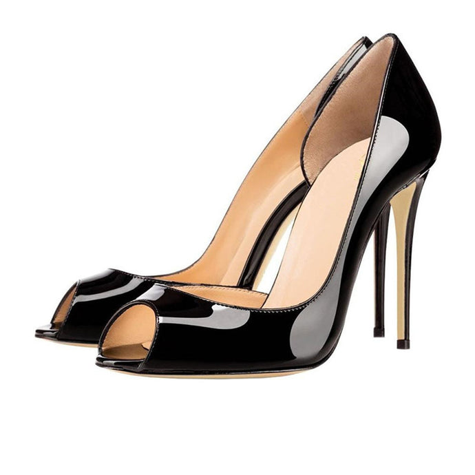 Charlisa 12cm Black | Classic Patent Leather Peep Toe Pumps | Multi Color