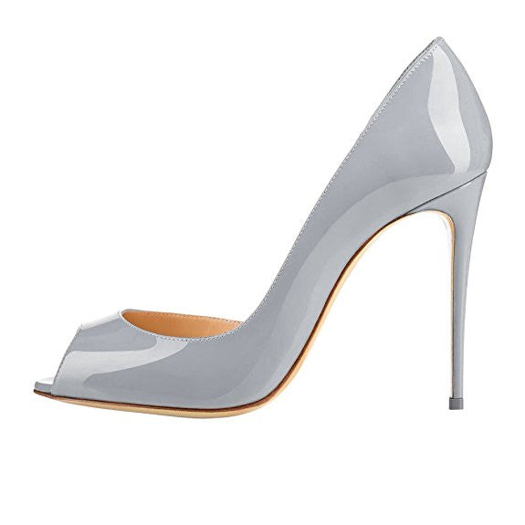 Charlisa 10cm Grey | Classic Patent Leather Peep Toe Pumps | Multi Color