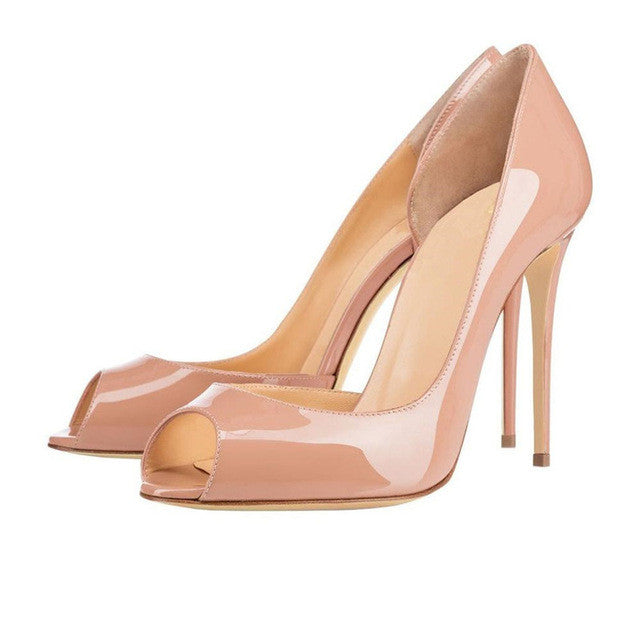 Charlisa 12cm Nude | Classic Patent Leather Peep Toe Pumps | Multi Color