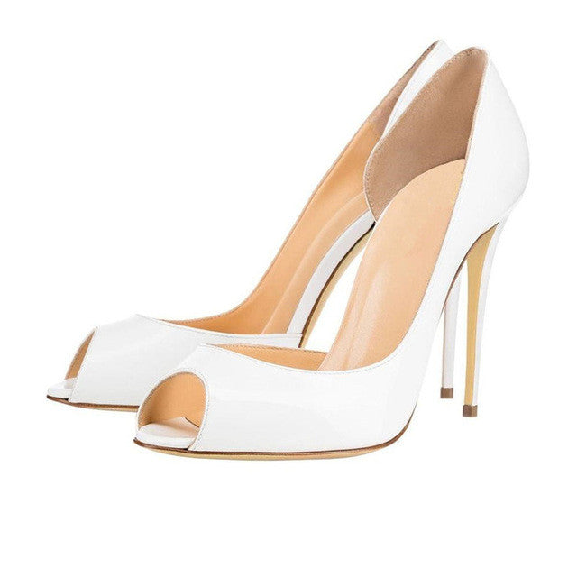 Charlisa 12cm White | Classic Patent Leather Peep Toe Pumps | Multi Color
