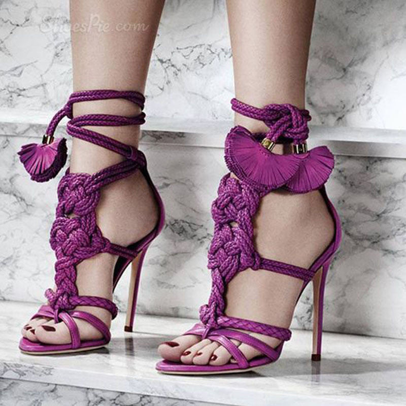 Mandalay | Woven Lace Up Gladiator Heels