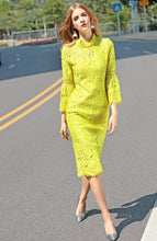 Karolina | Elegant Fitted Lemon Lace Trumpet Midi Dress