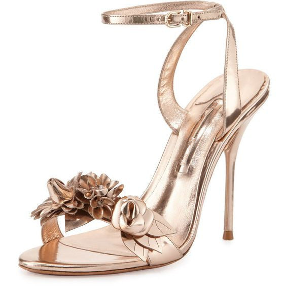 Lilly in Heels | Strappy Floral Metallic Vegan Leather Pumps