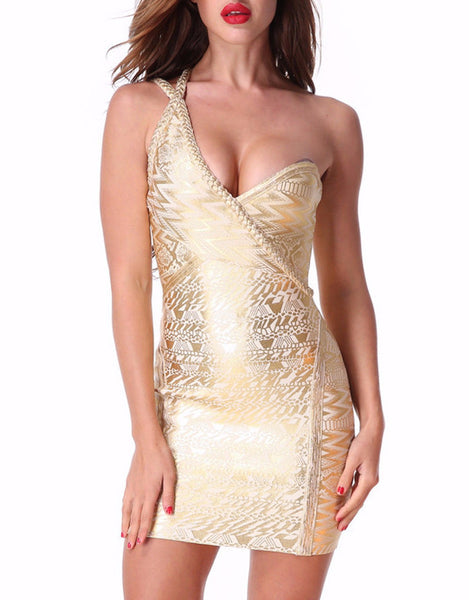 Cici l Metallic Asymetrical Printed Sexy Bandage Dress